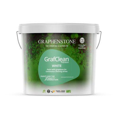 Duurzame graphenstone verf kopen extreem goed reininbare muurverf in wit grafclean premium white